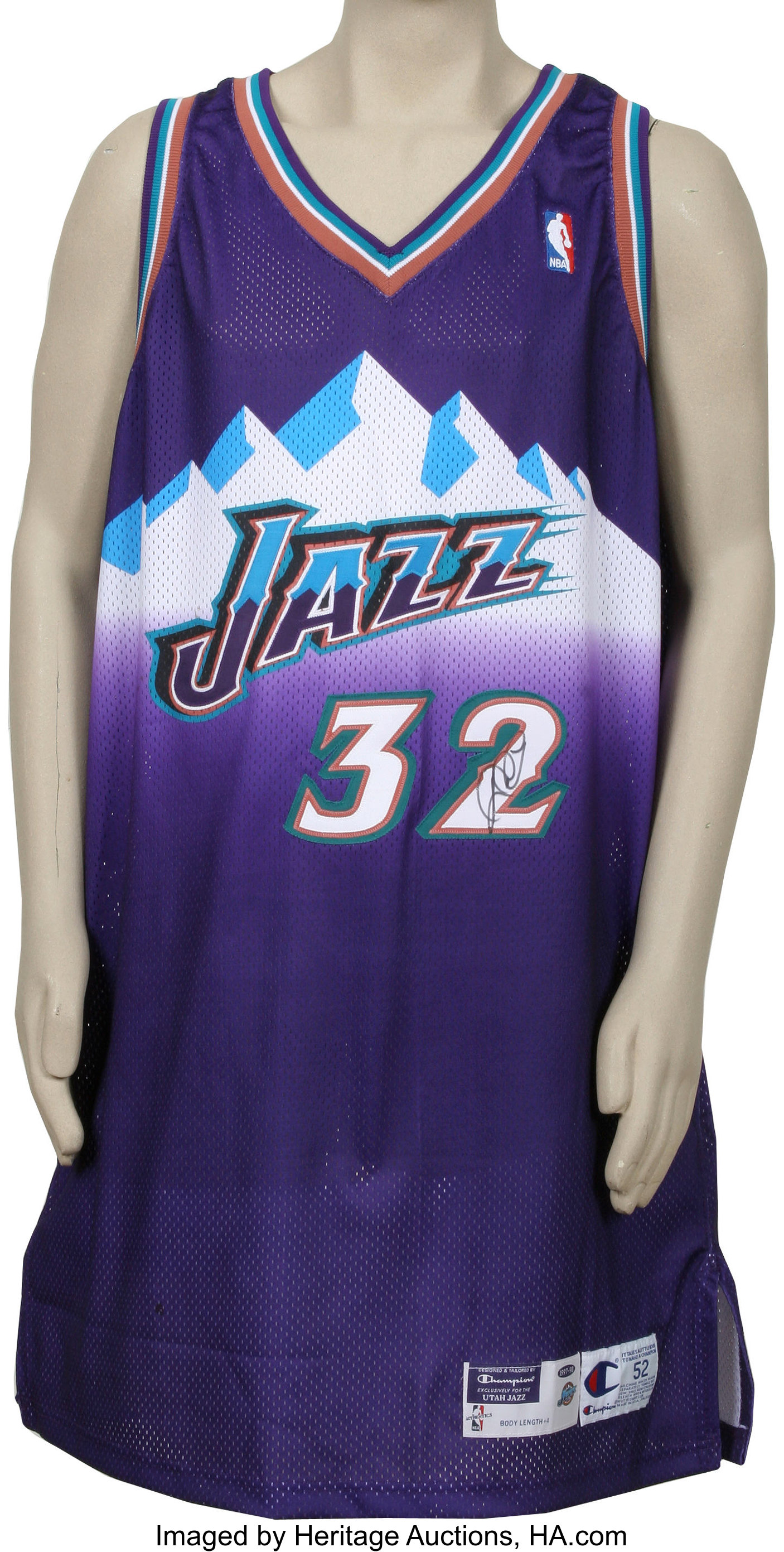 new arrival e6cd2 4a2a7 Karl Malone Double Signed Jersey. Two-time NBA MVP Karl ...