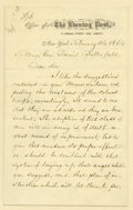 """Military & Patriotic:Civil War, William Cullen Bryant Autograph Letter Signed. Two pages, 5"""" x 8"""", on New York Evening Post letterhead, New York, Februa..."""