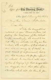 "William Cullen Bryant Autograph Letter Signed. Two pages, 5"" x 8"", on New York Evening Post letterhead, New Yo..."