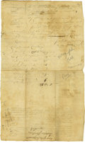 "Military & Patriotic:Revolutionary War, John Sullivan War Date Autograph Document Signed ""JnoSullivan"". Two pages, 7.5"" x 12.25"", Durham, NewHampshire, Ap..."