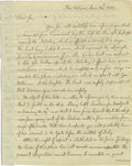 """Autographs:Statesmen, (New Orleans) Jonathan Dayton Autograph Letter Signed """"Jona.Dayton."""" One page, 8"""" x 10"""", New Orleans, June 24, 1803 to ..."""