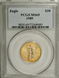 Modern Bullion Coins: , 1989 G$10 Quarter-Ounce Gold Eagle MS69 PCGS. PCGS Population(1226/40). NGC Census: (441/10). Mintage: 81,789. Numismedia ...