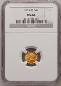Gold Dollars: , 1853-O G$1 MS64 NGC. NGC Census: (45/12). PCGS Population (35/6).Mintage: 290,000. Numismedia Wsl. Price for problem free ...