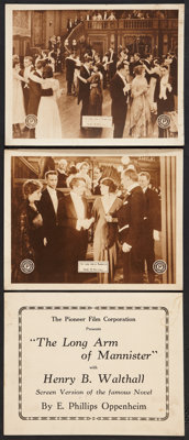 """The Long Arm of Mannister (Pioneer, 1919). Title Lobby Card and Lobby Cards (2) (11"""" X 14""""). Drama. ... (Total..."""
