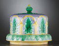 Ceramics & Porcelain, A VICTORIAN MAJOLICA CHEESE STAND AND COVER . Staffordshire, England, circa 1880. Unmarked. 9 x 10 inches diameter (22.9 x 2... (Total: 2 Items)