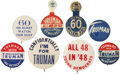 Political:Pinback Buttons (1896-present), Harry S Truman: Eight Word Pins and Tabs.... (Total: 8 Items)