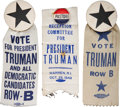 Political:Ribbons & Badges, Harry S Truman: Three Very Scarce Campaign Ribbons.... (Total: 3 Items)