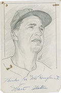 "Baseball Collectibles:Others, Walt Alston Signed Original Artwork ""Raitt Collection""...."