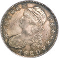 Bust Half Dollars, 1820 50C Square Base Knob 2, Large Date XF45 PCGS....