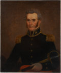 Military & Patriotic:Pre-Civil War, U.S. Army: Painted Portrait of a Brigadier General in Full Uniform and Holding a Model 1832 Army General Staff Officer's Sword...