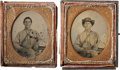 Military & Patriotic:Civil War, Two Sixth Plate Ambrotypes of Cpl. Silas Shirley, 16th Mississippi Inf., Killed at Spotsylvania Courthouse, May 12, 1864....