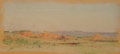 Works on Paper, FRANK REAUGH (American, 1860-1945). Untitled [Landscape Near Double Mountain], 1909. Pastel on paper. 3-1/2 x 7 inches (...