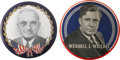 """Political:Pinback Buttons (1896-present), Harry S Truman and Wendell Willkie: Two Colorful Giant 9"""" Buttons.... (Total: 2 Items)"""