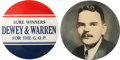 """Political:Pinback Buttons (1896-present), Thomas Dewey: Two Scarce 6"""" Buttons.... (Total: 2 Items)"""