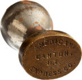 Advertising:Small Novelties, American Express Company Oklahoma Territory Depot Wax Seal Stamp,Circa 1890-1907....