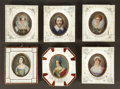 Decorative Arts, French:Other , A GROUP OF SIX FRENCH FRAMED MINIATURES ON IVORY . Various makers,France, circa 1880-1900. Marks: see description. 5-3/4 x ...(Total: 6 Items)
