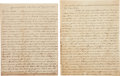 Autographs:Military Figures, Southern States Regimental Flags: Two Autograph Letters Signed. ...