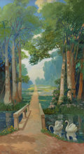 Western:20th Century, FRANZ STRAHALM (American, 1879-1935). Country Path, 1922.Oil on board. 84 x 47 inches (213.4 x 119.4 cm). Signed and da...