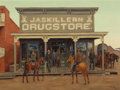 Paintings, FRED DARGE (American, 1900-1978). First Skillern's Store in Texas, 1885, circa 1940. Oil on canvas. 24 x 32 inches (61.0...