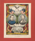 """Political:Posters & Broadsides (pre-1896), McClellan & Pendleton: Very Choice 1864 Currier """"Grand National Banner"""" Jugate Campaign Print...."""