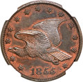 Patterns, 1855 P1C Flying Eagle Cent, Judd-168 Original, Pollock-193, R.4--Obverse Improperly Cleaned--NGC. Proof....
