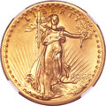 High Relief Double Eagles, 1907 $20 High Relief, Flat Rim--NGC. Unc Details....