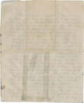 "Autographs:Military Figures, George Pickett Autograph Letter Signed ""Your George"". Onepage (front and back) in pencil, ""Sunday 3 ½ P.M./ July10..."