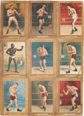 Boxing Cards:General, 1910-11 T9 Turkey Red Boxers Display Piece With Nine Cards. ...
