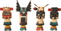American Indian Art:Kachina Dolls, FOUR HOPI COTTONWOOD KACHINA DOLLS. c. 1945... (Total: 4 Items)