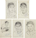 "Baseball Collectibles:Others, Cleveland Indians Stars Signed Original Artwork Lot of 5 from""Raitt Collection""...."