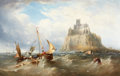 Fine Art - Painting, European:Antique  (Pre 1900), HENRY KING TAYLOR (British, 1827-1899). St. Michael's Mount,Cornwall. Oil on canvas. 36 x 57 inches (91.4 x 144.8 cm). ...