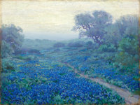 JULIAN ONDERDONK (American, 1882-1922) Bluebonnets at Sunrise, 1917 Oil on artist's board 9 x 12