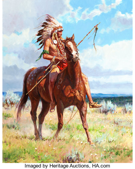 MARTIN GRELLE (American, b. 1954)Cheyenne Pride, 2006Oil on canvas30 x 24 inches (76.2 x 61.0 cm)Signed and date...