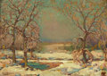 Texas:Early Texas Art - Impressionists, EDWARD G. EISENLOHR (American, 1872-1961). Texas in theSnow. Oil on artist's board. 9-3/4 x 13-3/4 inches (24.8 x 34.9...