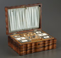 Decorative Arts, British:Other , AN ANGLO-INDIAN COROMANDEL FITTED SEWING BOX . Coromandel coast,India, circa 1850-1880. Unmarked. 3-7/8 x 10 x 7-1/4 inches...