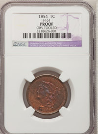 1854 P1C One Cent, Judd-161 Restrike, Pollock-187, R.4--Obverse Tooled--NGC. Proof....(PCGS# 11668)