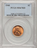 Lincoln Cents: , 1940 1C MS67 Red PCGS. PCGS Population (183/4). NGC Census:(493/0). Mintage: 586,825,856. Numismedia Wsl. Price for proble...