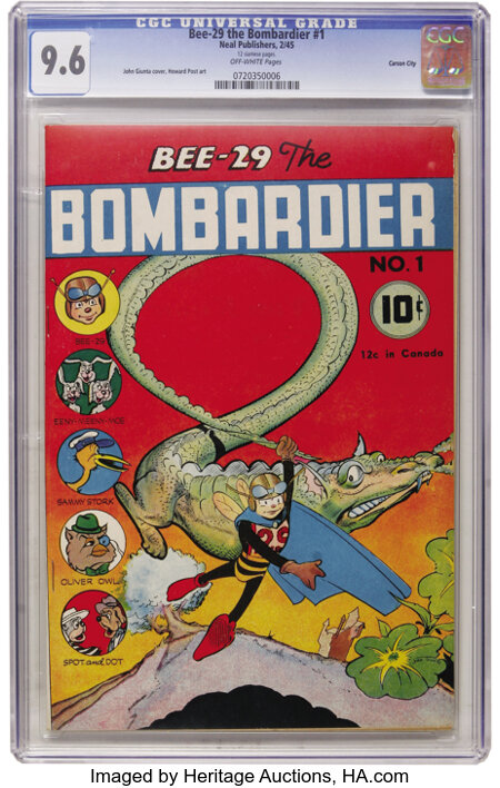 Bee-29 The Bombardier #1 Carson City pedigree (Neal Publications, 1945) CGC NM+ 9.6 Off-white pages. ...