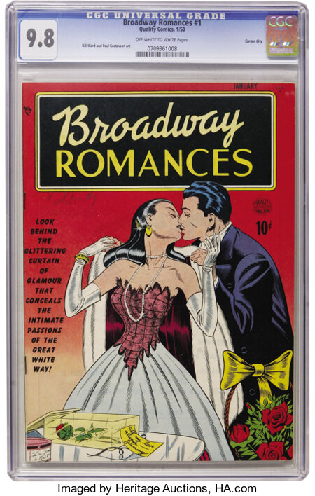 Broadway Romances #1 Carson City pedigree (Quality, 1950) CGC NM/MT 9.8 Off-white to white pages. ...