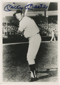 """Autographs:Photos, Mickey Mantle Signed Photograph. Exceptionally composed 5x7"""" blackand white print features a pinstriped Mickey Mantle as h..."""
