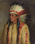 Paintings, JOSEPH HENRY SHARP (American, 1859-1953). Jerry. Oil on canvas. 20 x 16 inches (50.8 x 40.6 cm). Signed lower left: J...