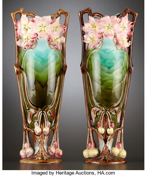 A Pair Of Continental Majolica Mantle Vases Probably Lot 69074