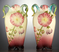 A PAIR OF FRENCH MAJOLICA MANTLE VASES Delphin Massier, Vallauris, France, circa 1890 Marks: DELPHIN MASSIE