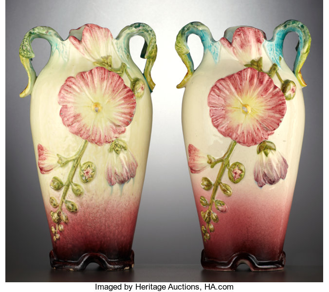 A Pair Of French Majolica Mantle Vases Delphin Lot 69072