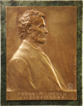 Political:Miscellaneous Political, Abraham Lincoln: Classic Bronze Plaque by Victor D. Brenner, Designer of the Lincoln Penny....