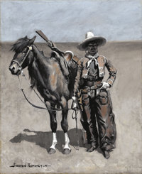 FREDERIC SACKRIDER REMINGTON (American, 1861-1909) A Mexican Buccaroo - In Texas, circa 1890 Oil on