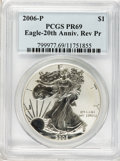 Modern Bullion Coins, 2006-P $1 Reverse Proof Silver Eagle, 20th Anniversary PR69 PCGS.PCGS Population (11396/1531). NGC Census: (0/0). Numisme...