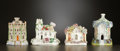 Ceramics & Porcelain, British:Antique  (Pre 1900), A GROUP OF FOUR ENGLISH PASTILLE BURNERS . Staffordshire, England, circa 1870 and later. Unmarked. 6-1/8 inches high (15.6 c... (Total: 6 Items)