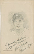 "Baseball Collectibles:Others, Pee Wee Reese Signed Original Artwork ""Raitt Collection""...."