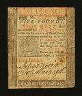 Colonial Notes:Pennsylvania, Pennsylvania May 1, 1760 £5 Fine-Very Fine....